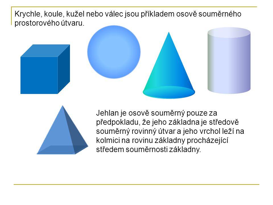 Krychle, koule, kužel nebo válec jsou příkladem osově souměrného prostorového útvaru. Jehlan je osově souměrný pouze za předpokladu, že jeho základna