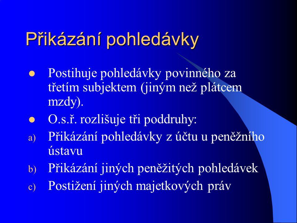 Přikázání pohledávky Postihuje pohledávky povinného za třetím subjektem (jiným než plátcem mzdy).