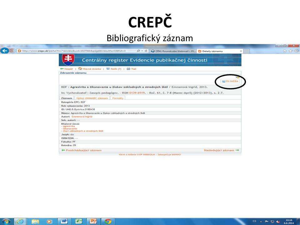 CREPČ Bibliografický záznam