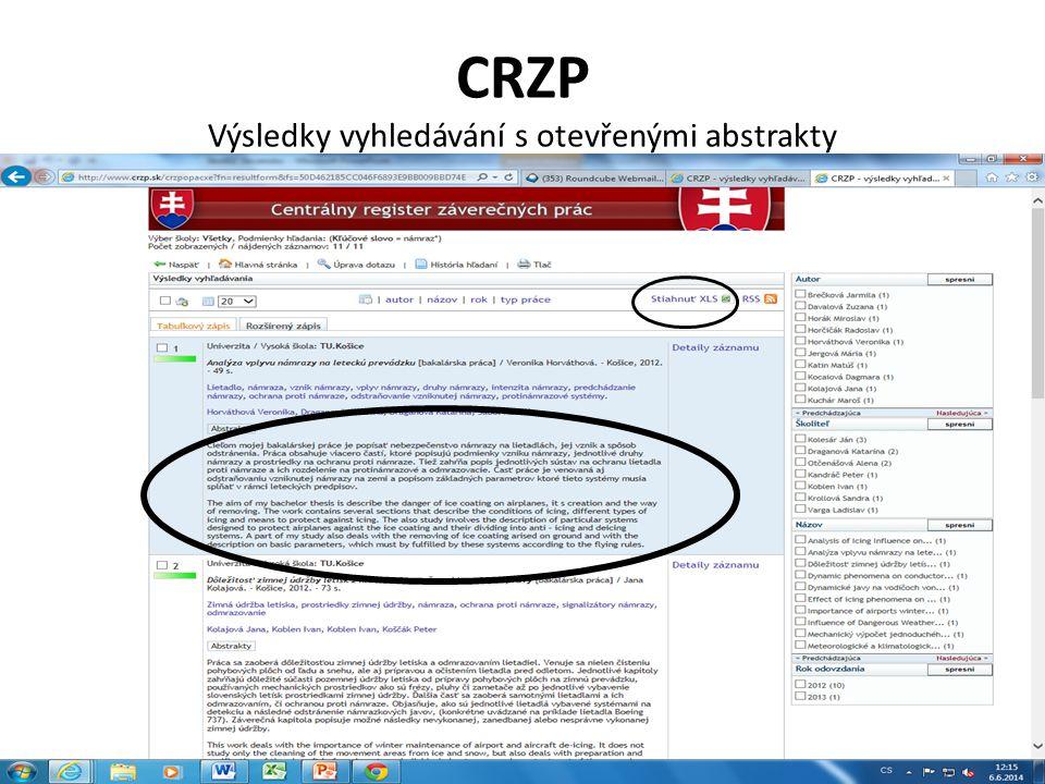 CRZP Výsledky vyhledávání s otevřenými abstrakty