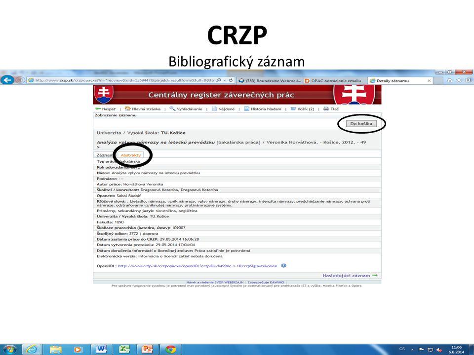 CRZP Bibliografický záznam