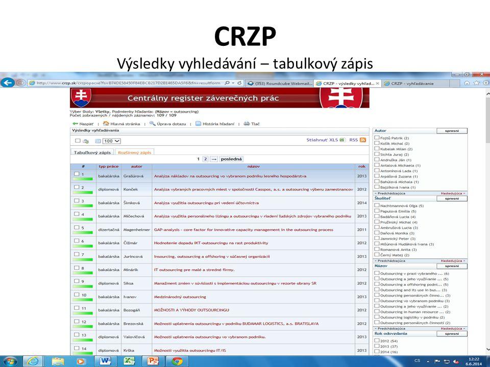 CRZP Výsledky vyhledávání – tabulkový zápis