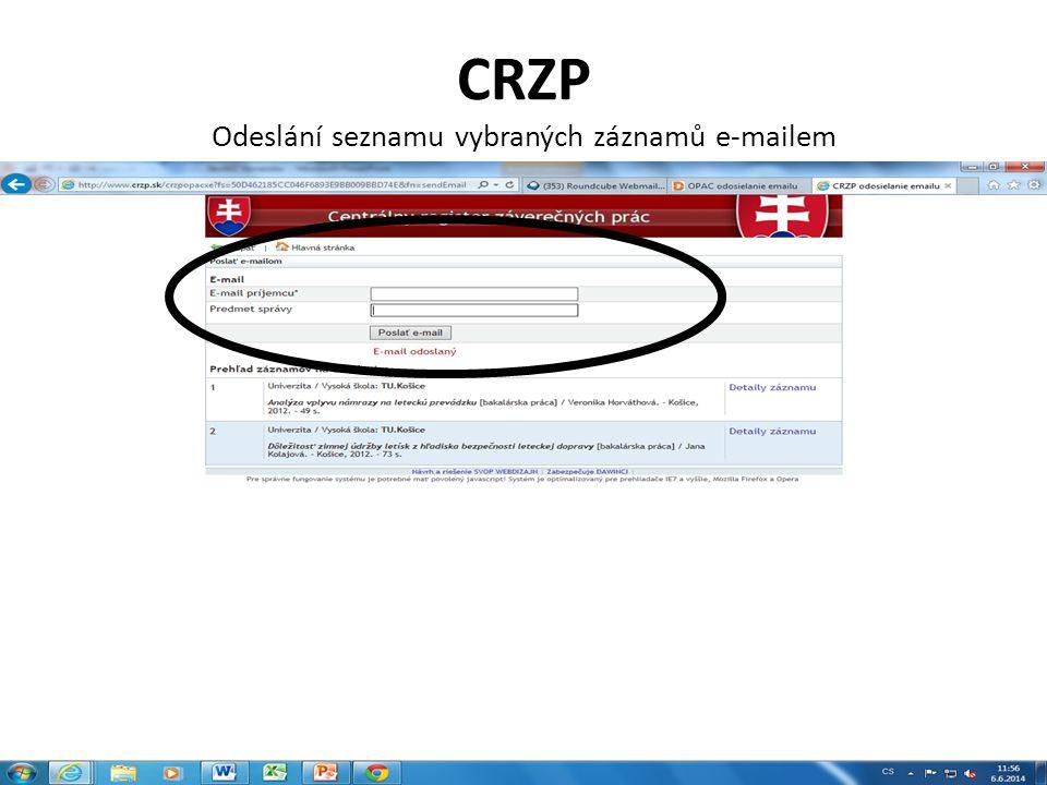 CRZP Odeslání seznamu vybraných záznamů e-mailem