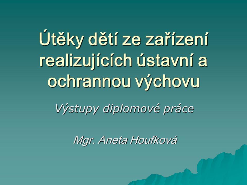 Útěky dětí ze zařízení realizujících ústavní a ochrannou výchovu Výstupy diplomové práce Mgr. Aneta Houfková