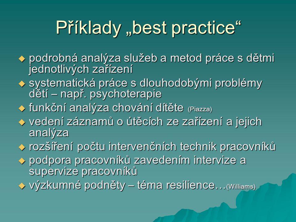 """Příklady """"best practice""""  podrobná analýza služeb a metod práce s dětmi jednotlivých zařízení  systematická práce s dlouhodobými problémy dětí – nap"""
