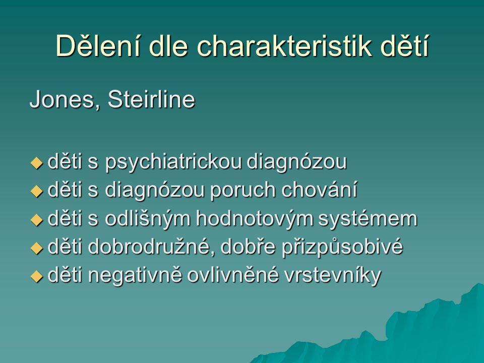 Dělení dle charakteristik dětí Jones, Steirline  děti s psychiatrickou diagnózou  děti s diagnózou poruch chování  děti s odlišným hodnotovým systé