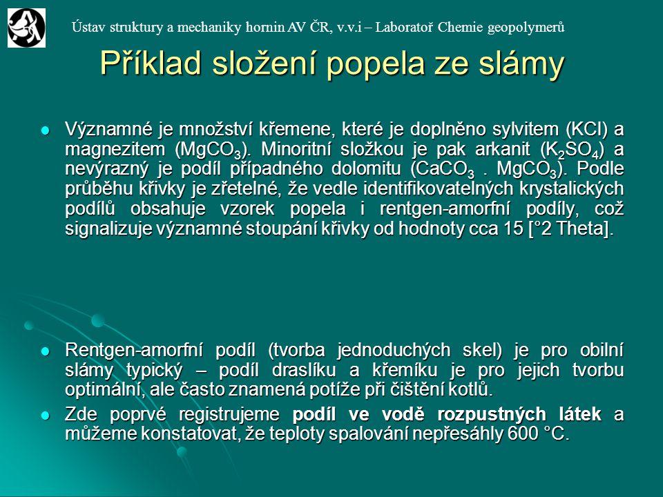 Ústav struktury a mechaniky hornin AV ČR, v.v.i – Laboratoř Chemie geopolymerů Příklad složení popela ze slámy Významné je množství křemene, které je