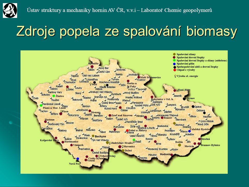 Ústav struktury a mechaniky hornin AV ČR, v.v.i – Laboratoř Chemie geopolymerů Zdroje popela ze spalování biomasy