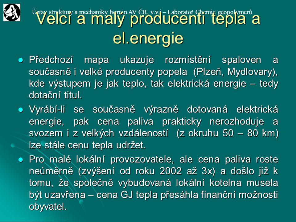 Ústav struktury a mechaniky hornin AV ČR, v.v.i – Laboratoř Chemie geopolymerů Velcí a malý producenti tepla a el.energie Předchozí mapa ukazuje rozmí