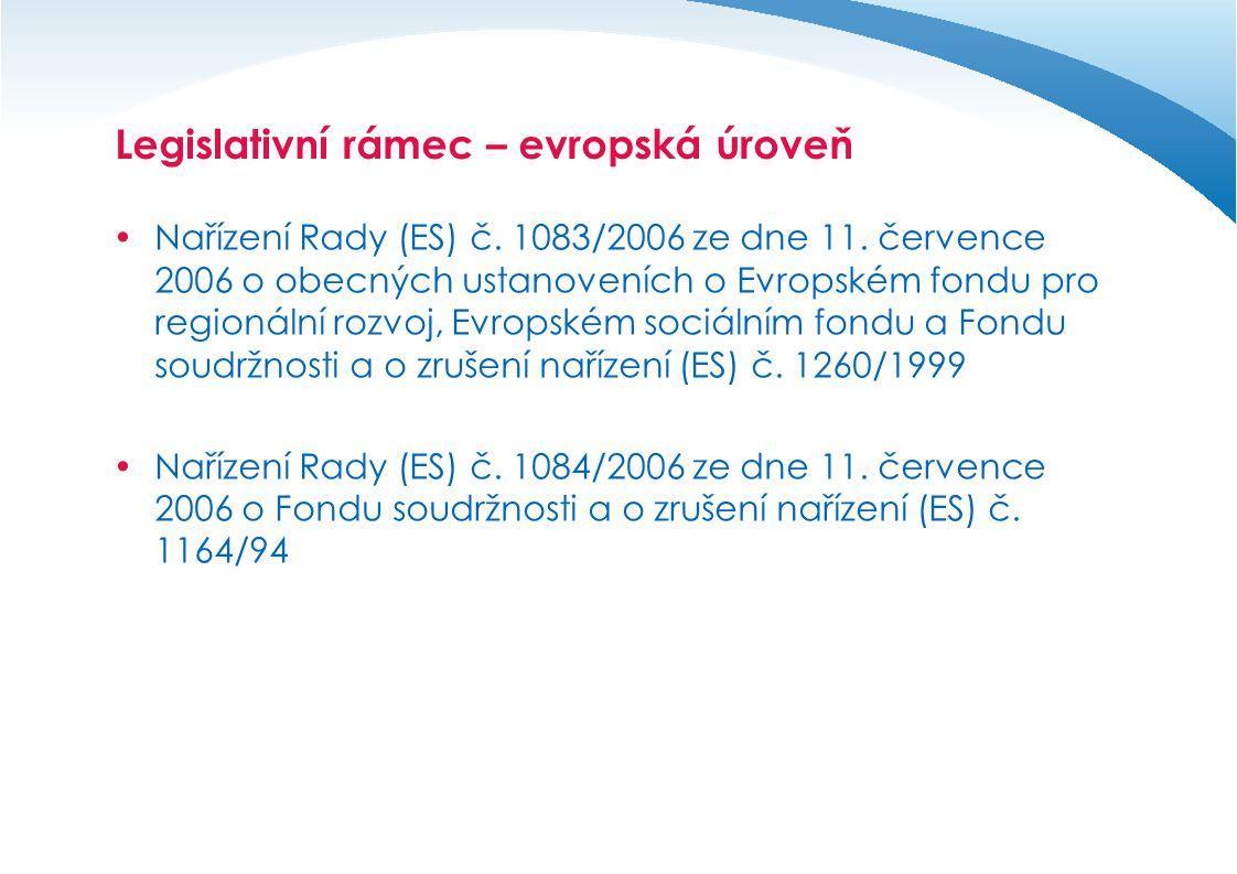 Legislativní rámec – evropská úroveň  Nařízení Rady (ES) č.