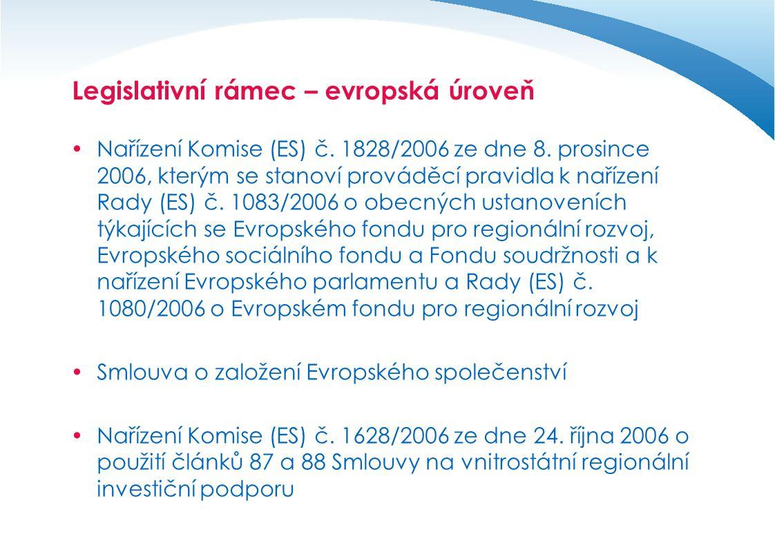Legislativní rámec – evropská úroveň  Nařízení Komise (ES) č.
