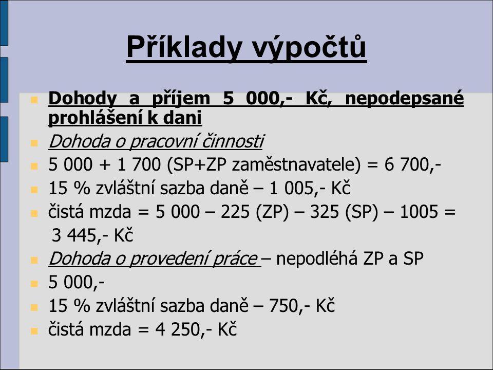 Příklady výpočtů Dohody a příjem 5 000,- Kč, nepodepsané prohlášení k dani Dohoda o pracovní činnosti 5 000 + 1 700 (SP+ZP zaměstnavatele) = 6 700,- 1