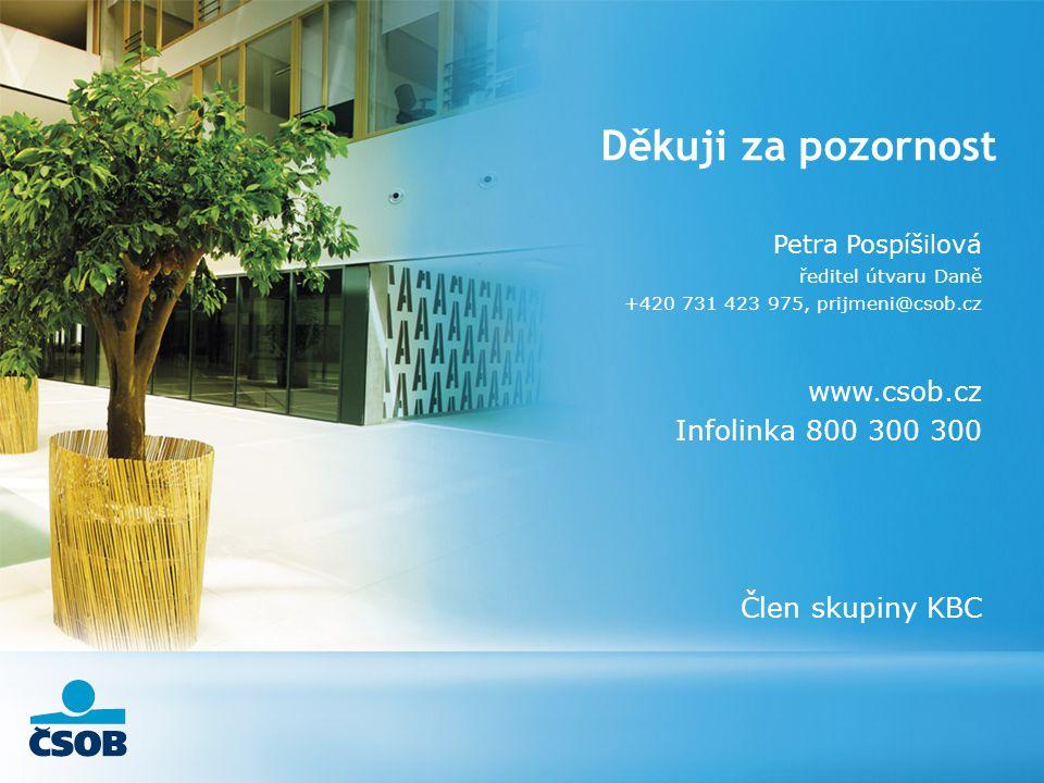 Děkuji za pozornost Petra Pospíšilová ředitel útvaru Daně +420 731 423 975, prijmeni@csob.cz www.csob.cz Infolinka 800 300 300 Člen skupiny KBC