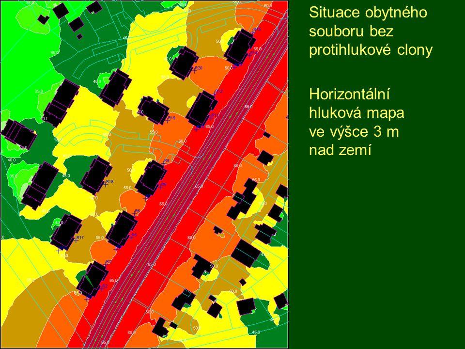 Situace obytného souboru s protihlukovou clonou výšky 4 m Horizontální hluková mapa ve výšce 3 m nad zemí