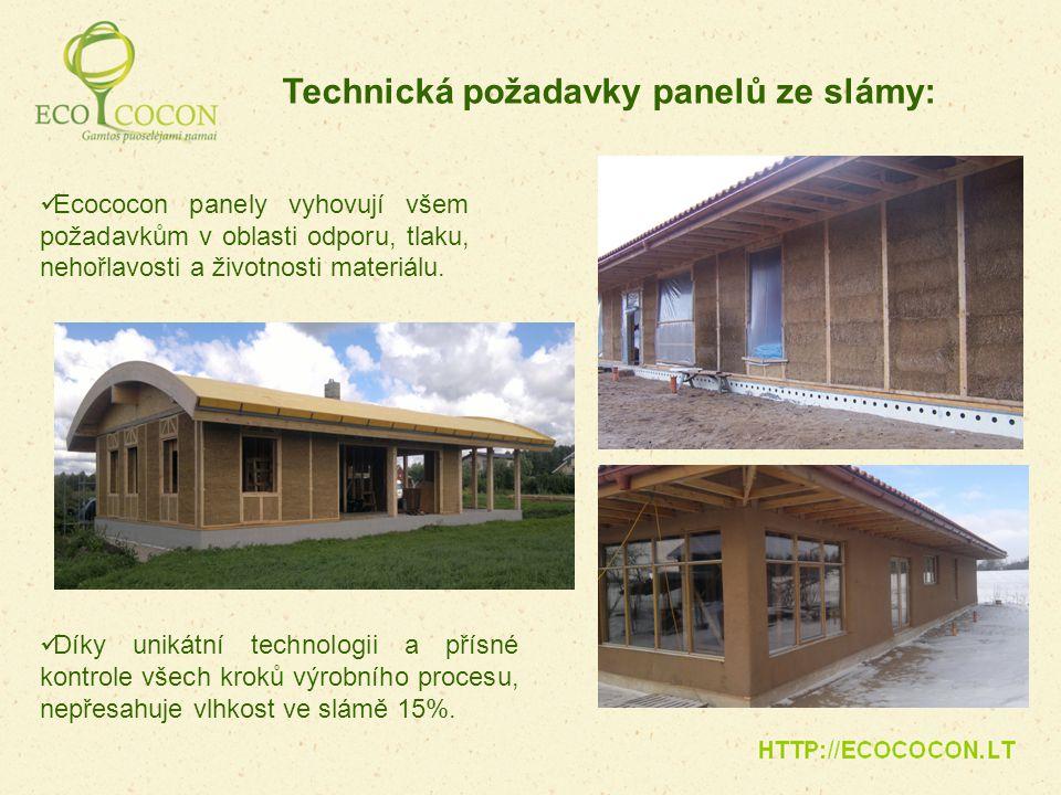 Ecococon panely vyhovují všem požadavkům v oblasti odporu, tlaku, nehořlavosti a životnosti materiálu. Technická požadavky panelů ze slámy: Díky uniká