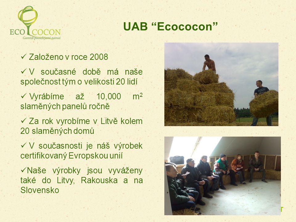 Založeno v roce 2008 V současné době má naše společnost tým o velikosti 20 lidí Vyrábíme až 10,000 m 2 slaměných panelů ročně Za rok vyrobíme v Litvě