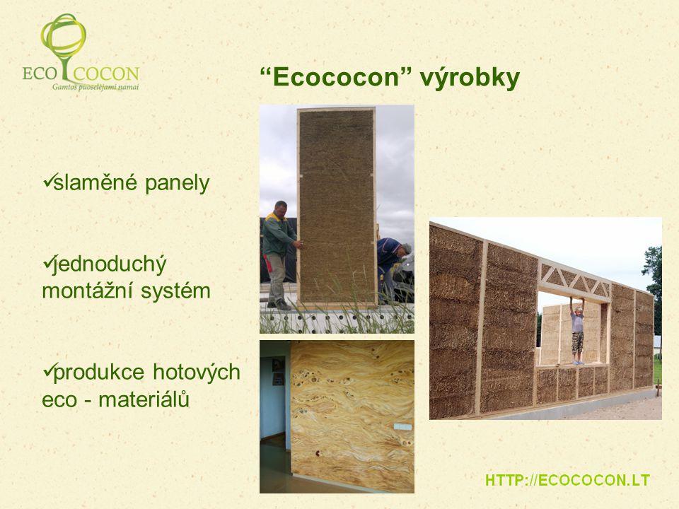 """slaměné panely jednoduchý montážní systém produkce hotových eco - materiálů """"Ecococon"""" výrobky"""