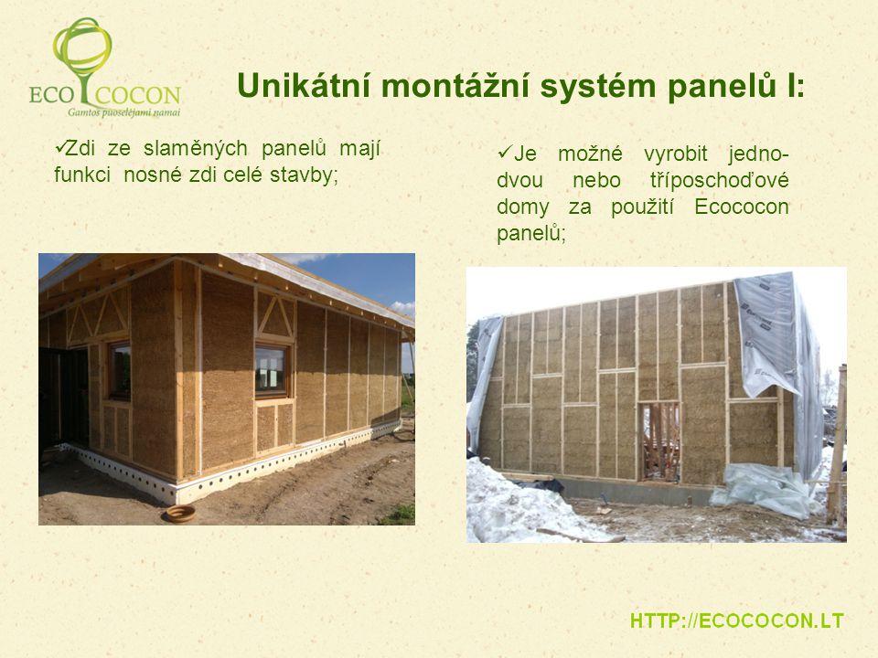 Zdi ze slaměných panelů mají funkci nosné zdi celé stavby; Unikátní montážní systém panelů I: Je možné vyrobit jedno- dvou nebo tříposchoďové domy za