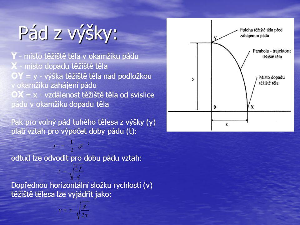Pád z výšky: Y - místo těžiště těla v okamžiku pádu X - místo dopadu těžiště těla OY = y - výška těžiště těla nad podložkou v okamžiku zahájení pádu OX = x - vzdálenost těžiště těla od svislice pádu v okamžiku dopadu těla Pak pro volný pád tuhého tělesa z výšky (y) platí vztah pro výpočet doby pádu (t): odtud lze odvodit pro dobu pádu vztah: Dopřednou horizontální složku rychlosti (v) těžiště tělesa lze vyjádřit jako: