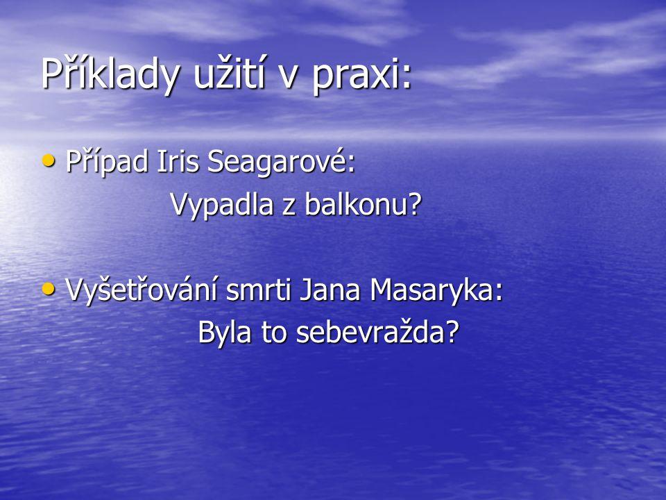Příklady užití v praxi: Případ Iris Seagarové: Případ Iris Seagarové: Vypadla z balkonu.
