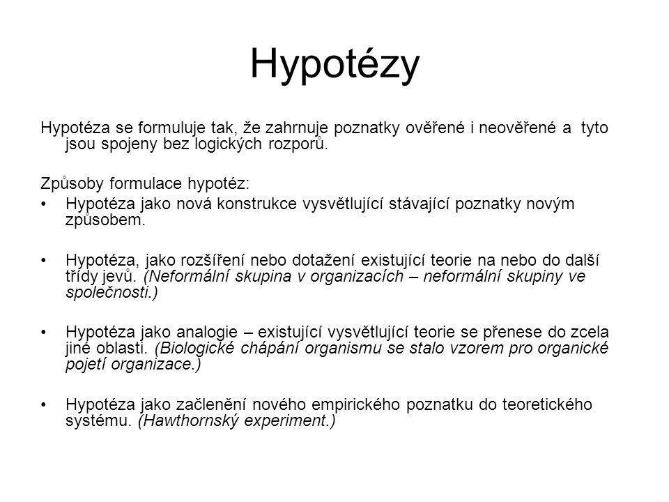 Hypotézy Hypotéza se formuluje tak, že zahrnuje poznatky ověřené i neověřené a tyto jsou spojeny bez logických rozporů. Způsoby formulace hypotéz: Hyp