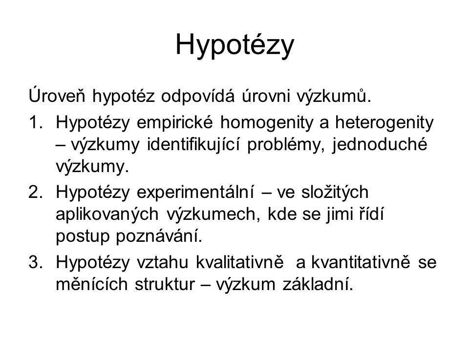 Hypotézy Úroveň hypotéz odpovídá úrovni výzkumů. 1.Hypotézy empirické homogenity a heterogenity – výzkumy identifikující problémy, jednoduché výzkumy.