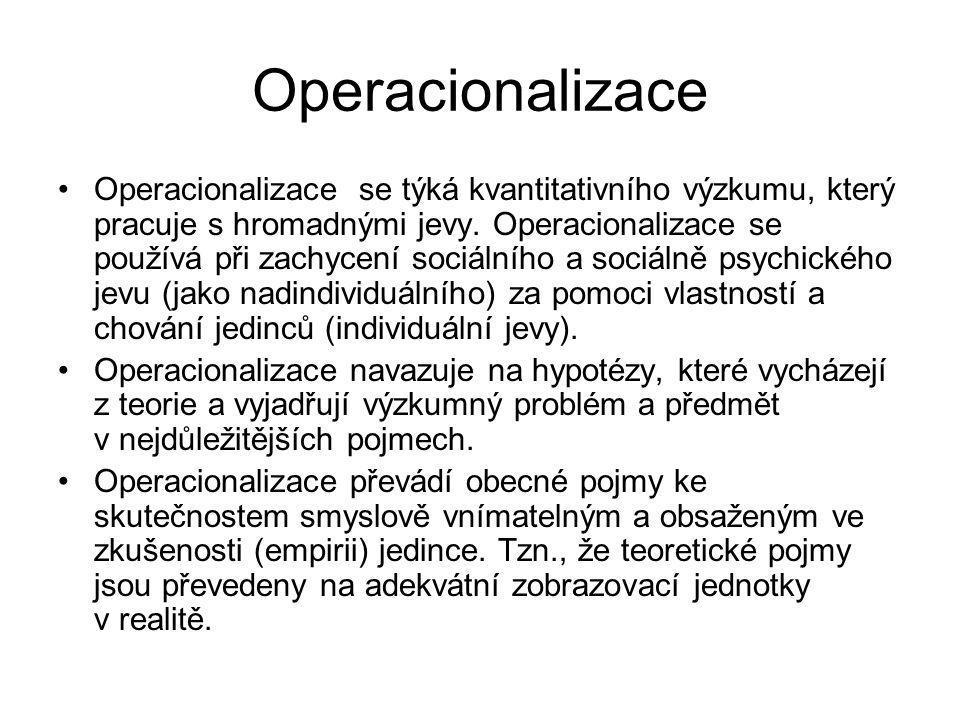 Operacionalizace Operacionalizace se týká kvantitativního výzkumu, který pracuje s hromadnými jevy. Operacionalizace se používá při zachycení sociální