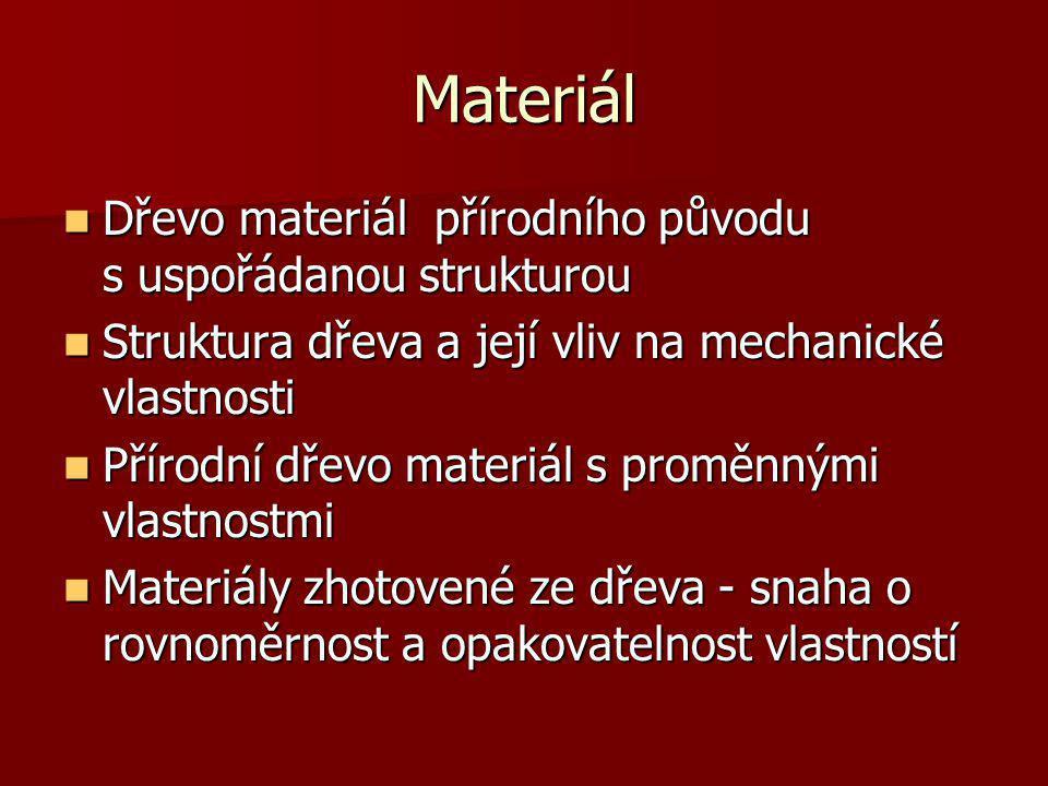 Materiál Dřevo materiál přírodního původu s uspořádanou strukturou Dřevo materiál přírodního původu s uspořádanou strukturou Struktura dřeva a její vl
