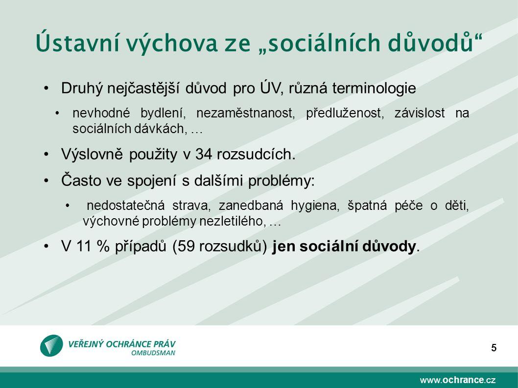 """www.ochrance.cz 5 Ústavní výchova ze """"sociálních důvodů"""" Druhý nejčastější důvod pro ÚV, různá terminologie nevhodné bydlení, nezaměstnanost, předluže"""