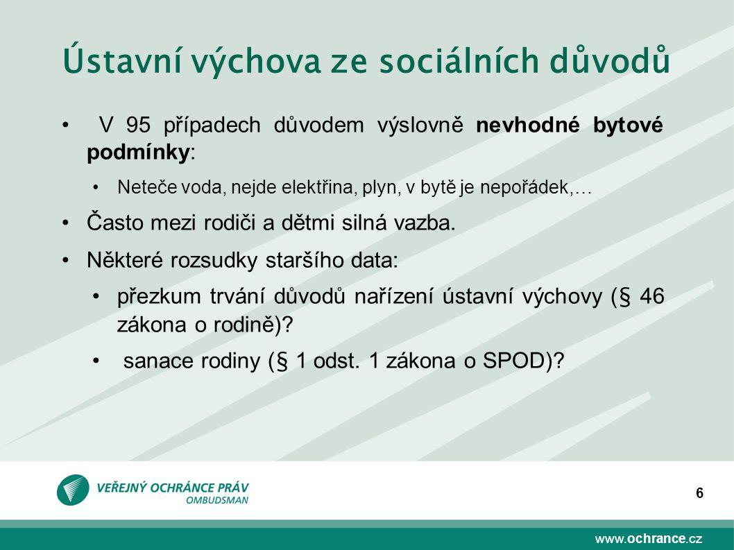 www.ochrance.cz 6 Ústavní výchova ze sociálních důvodů V 95 případech důvodem výslovně nevhodné bytové podmínky: Neteče voda, nejde elektřina, plyn, v