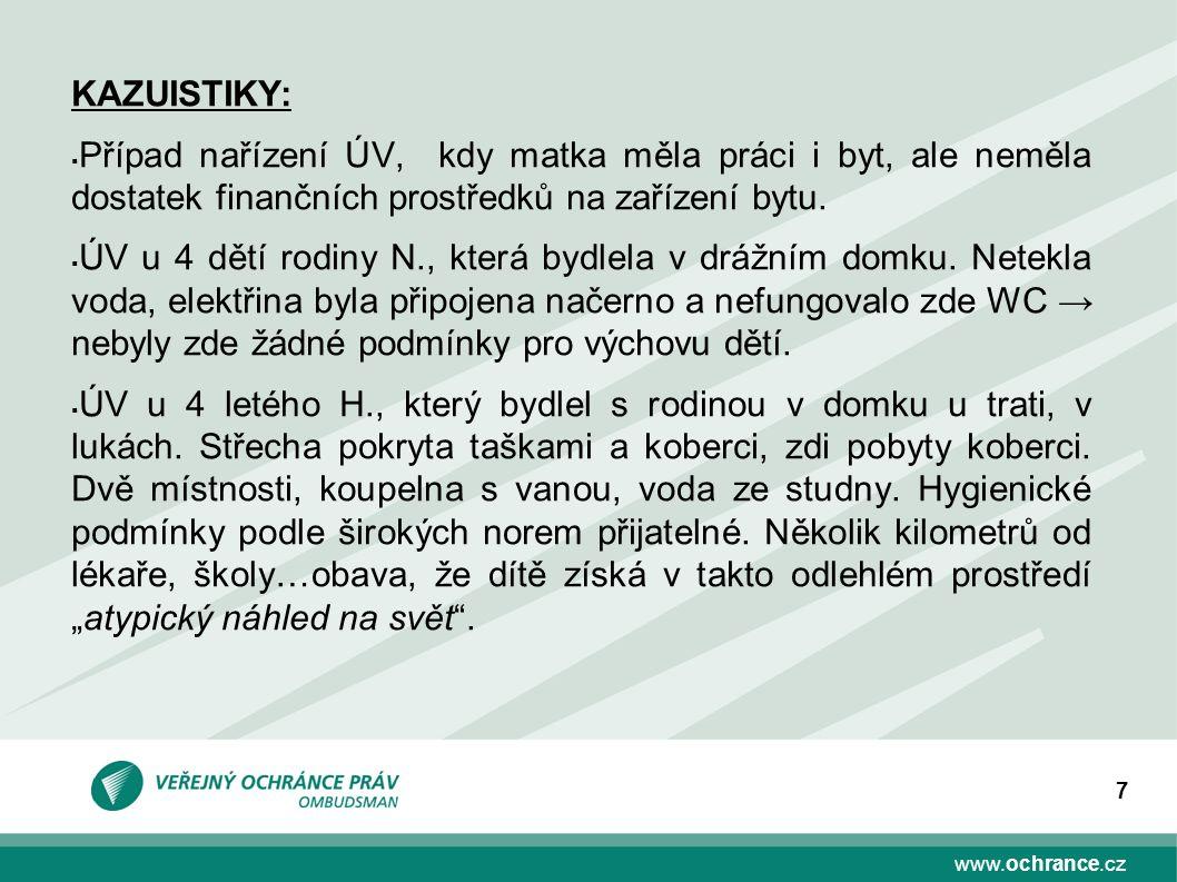 www.ochrance.cz 7 KAZUISTIKY:  Případ nařízení ÚV, kdy matka měla práci i byt, ale neměla dostatek finančních prostředků na zařízení bytu.  ÚV u 4 d
