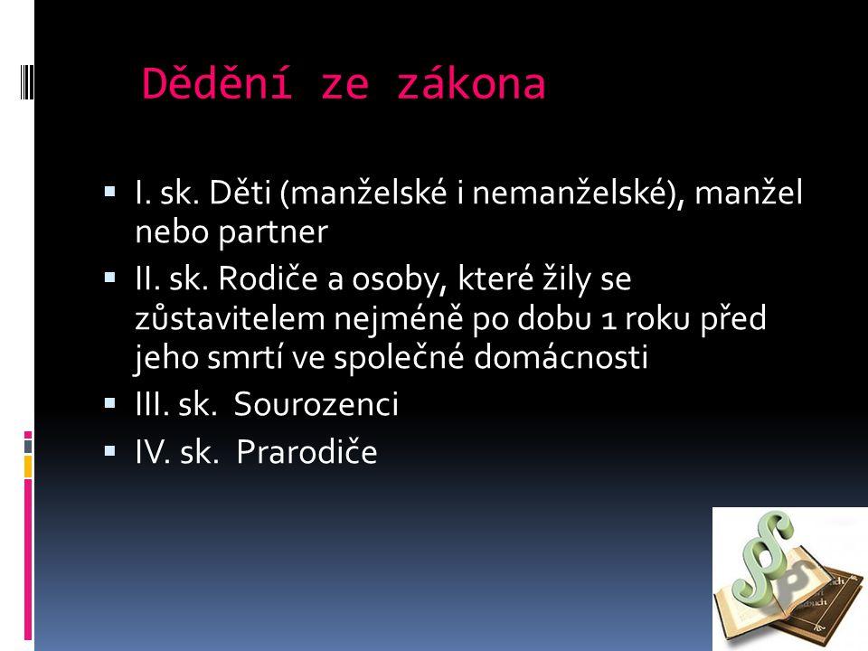 Dědění ze zákona  I. sk. Děti (manželské i nemanželské), manžel nebo partner  II.