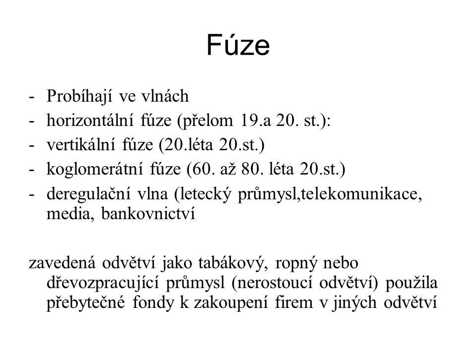 Fúze -Probíhají ve vlnách -horizontální fúze (přelom 19.a 20. st.): -vertikální fúze (20.léta 20.st.) -koglomerátní fúze (60. až 80. léta 20.st.) -der