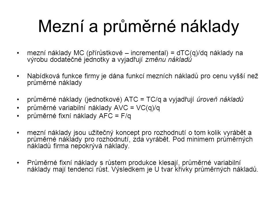 Mezní a průměrné náklady mezní náklady MC (přírůstkové – incremental) = dTC(q)/dq náklady na výrobu dodatečné jednotky a vyjadřují změnu nákladů Nabíd
