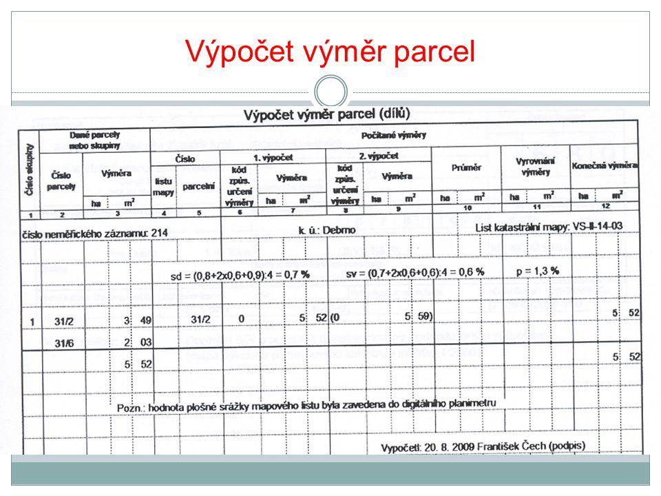 Výpočet výměr parcel