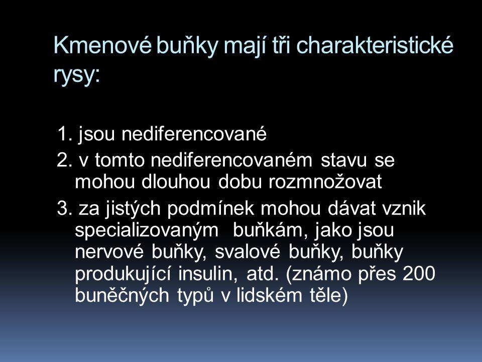 Klasifikace  (ESC)Human embryonic stem cells, které se dají získat z lidského embrya ve stadiu blastocysty (4-5 den po oplození) 5.