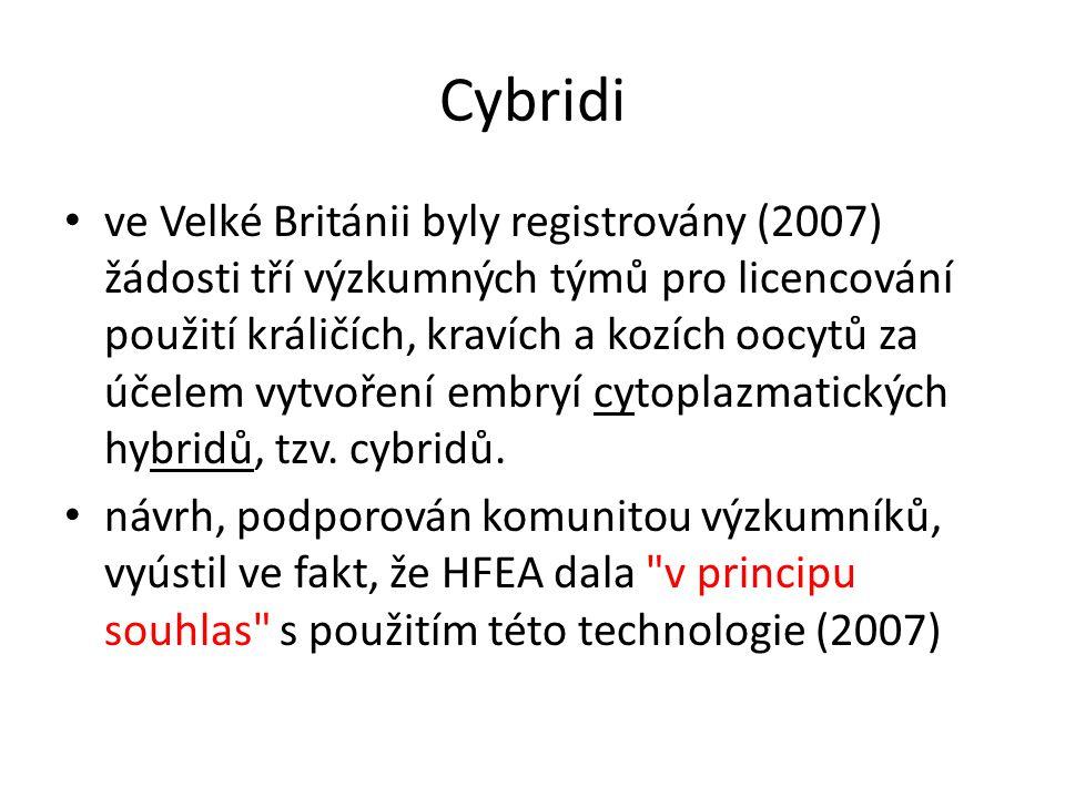 Cybridi ve Velké Británii byly registrovány (2007) žádosti tří výzkumných týmů pro licencování použití králičích, kravích a kozích oocytů za účelem vy