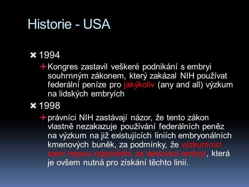 Historie - USA  1994  Kongres zastavil veškeré podnikání s embryi souhrnným zákonem, který zakázal NIH používat federální peníze pro jakýkoliv (any