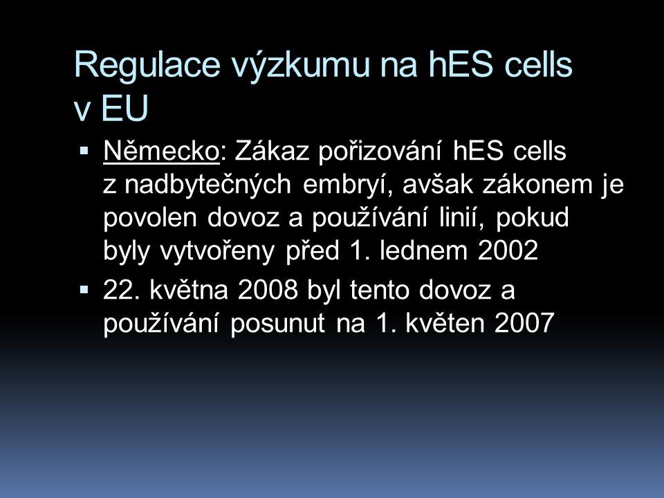 Regulace výzkumu na hES cells v EU  Německo: Zákaz pořizování hES cells z nadbytečných embryí, avšak zákonem je povolen dovoz a používání linií, poku