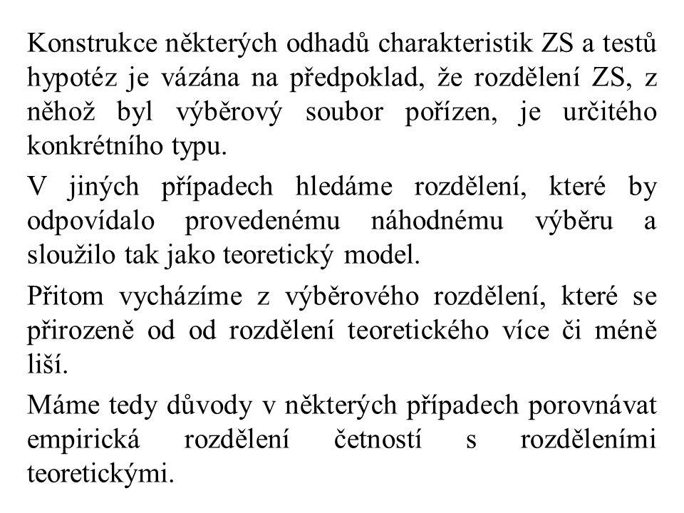 Konstrukce některých odhadů charakteristik ZS a testů hypotéz je vázána na předpoklad, že rozdělení ZS, z něhož byl výběrový soubor pořízen, je určitého konkrétního typu.