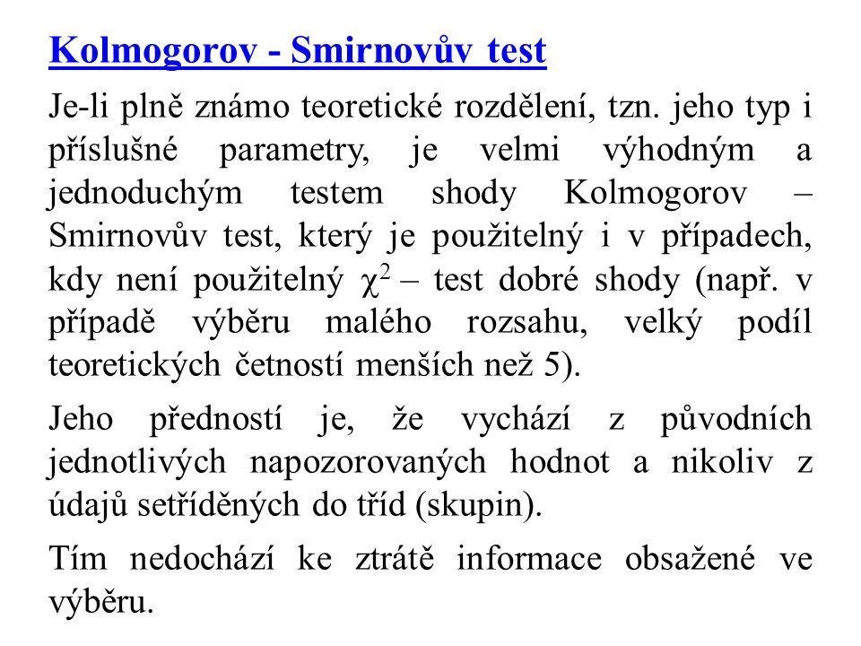 Kolmogorov - Smirnovův test Je-li plně známo teoretické rozdělení, tzn. jeho typ i příslušné parametry, je velmi výhodným a jednoduchým testem shody K