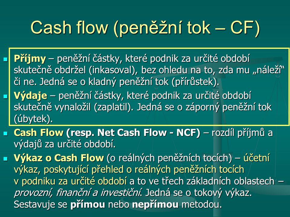 """Cash flow (peněžní tok – CF) Příjmy – peněžní částky, které podnik za určité období skutečně obdržel (inkasoval), bez ohledu na to, zda mu """"náleží či ne."""