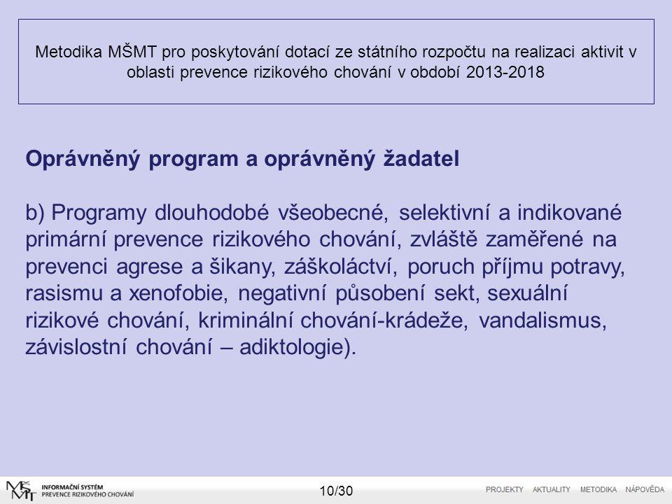 Metodika MŠMT pro poskytování dotací ze státního rozpočtu na realizaci aktivit v oblasti prevence rizikového chování v období 2013-2018 10/30 Oprávněn