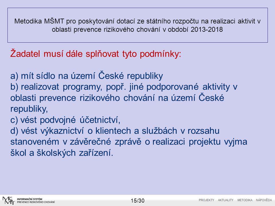 Metodika MŠMT pro poskytování dotací ze státního rozpočtu na realizaci aktivit v oblasti prevence rizikového chování v období 2013-2018 15/30 Žadatel
