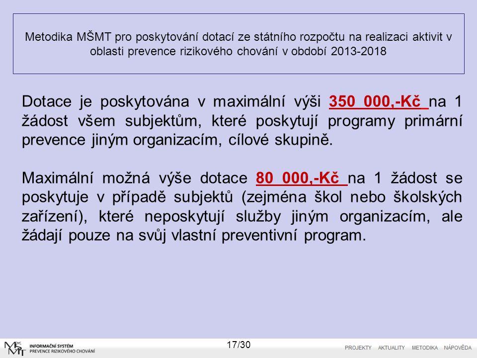 Metodika MŠMT pro poskytování dotací ze státního rozpočtu na realizaci aktivit v oblasti prevence rizikového chování v období 2013-2018 17/30 Dotace j