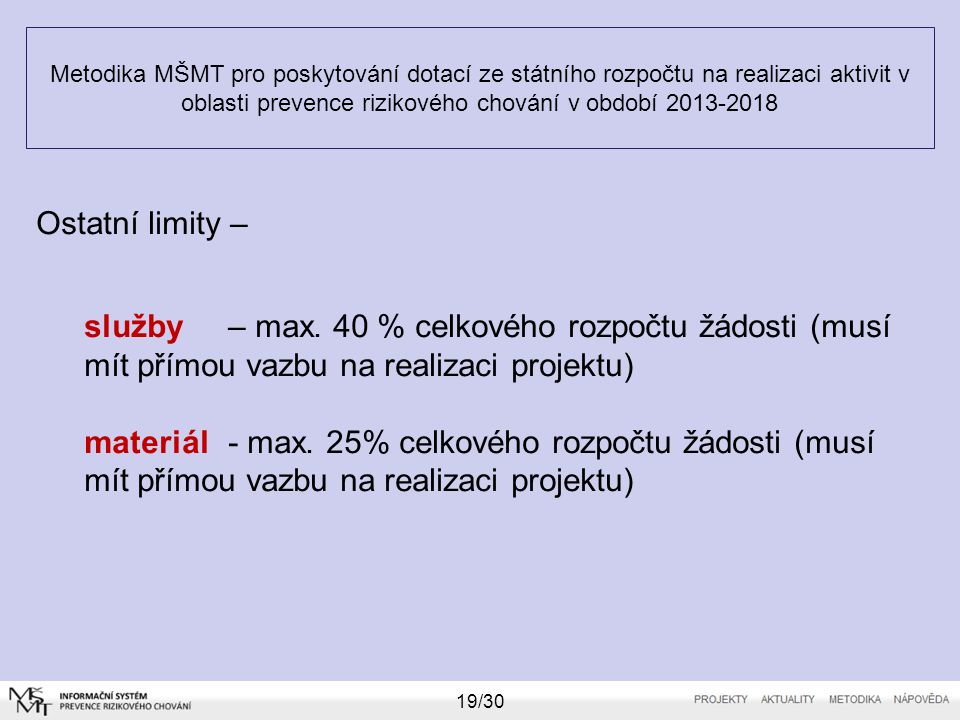 Metodika MŠMT pro poskytování dotací ze státního rozpočtu na realizaci aktivit v oblasti prevence rizikového chování v období 2013-2018 19/30 Ostatní
