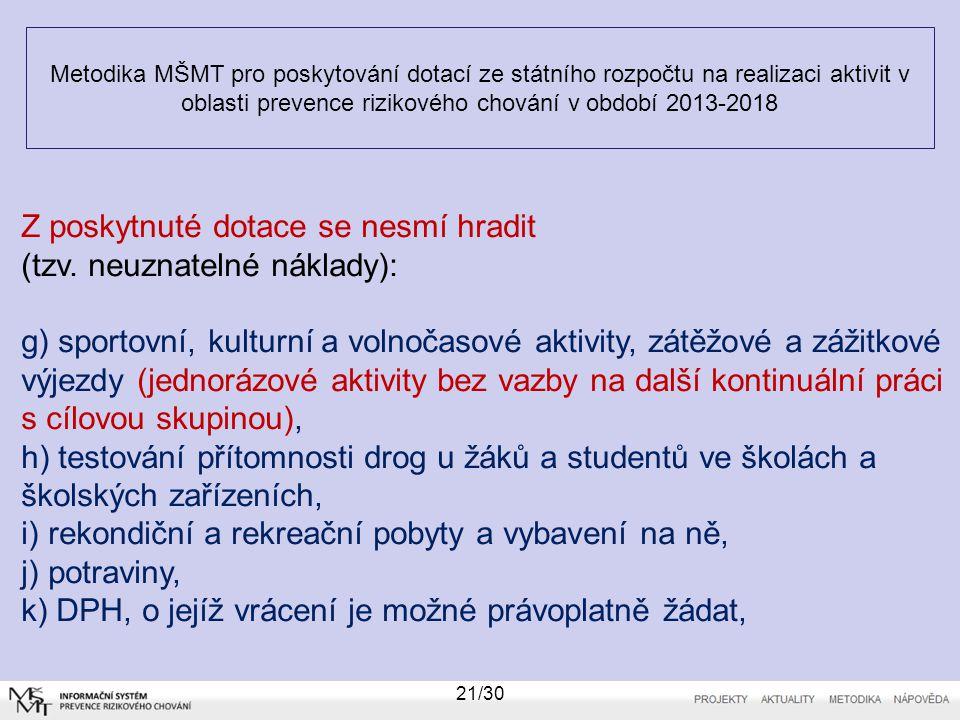 Metodika MŠMT pro poskytování dotací ze státního rozpočtu na realizaci aktivit v oblasti prevence rizikového chování v období 2013-2018 21/30 Z poskyt