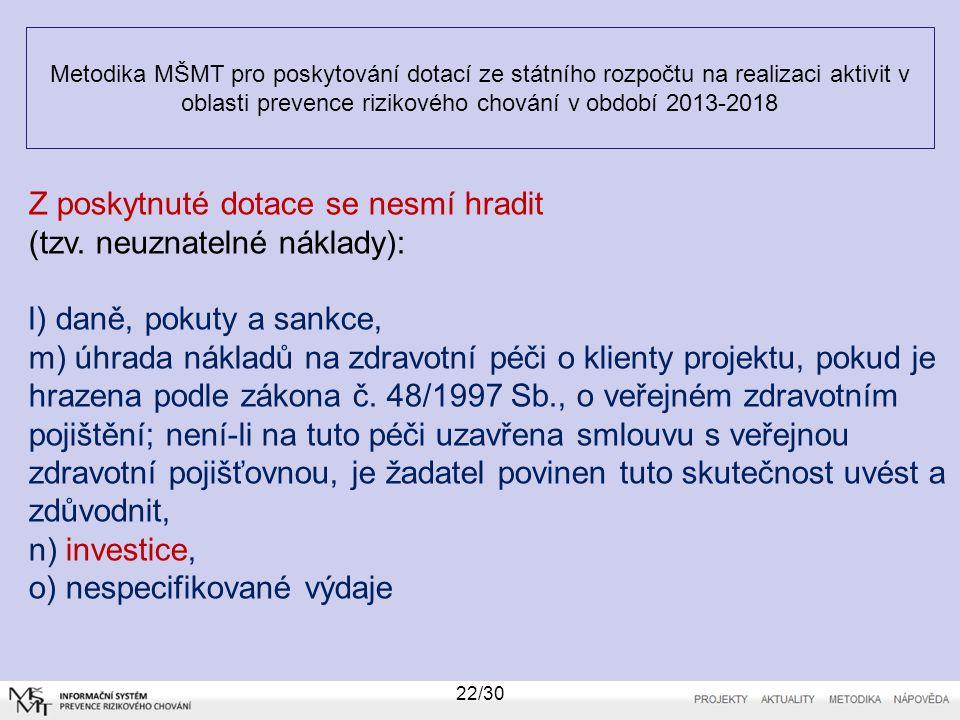 Metodika MŠMT pro poskytování dotací ze státního rozpočtu na realizaci aktivit v oblasti prevence rizikového chování v období 2013-2018 22/30 Z poskyt