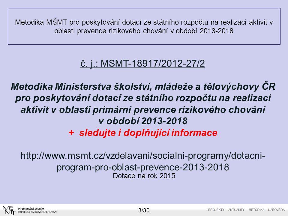 Metodika MŠMT pro poskytování dotací ze státního rozpočtu na realizaci aktivit v oblasti prevence rizikového chování v období 2013-2018 Dotace na rok
