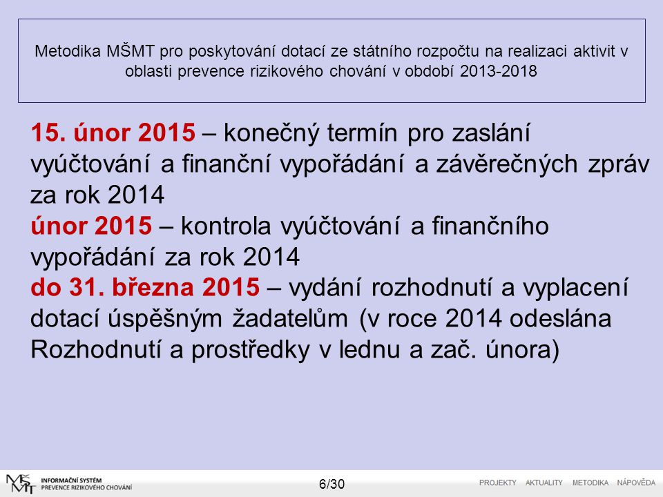 Metodika MŠMT pro poskytování dotací ze státního rozpočtu na realizaci aktivit v oblasti prevence rizikového chování v období 2013-2018 6/30 15. únor